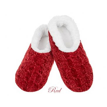 Red Chenille Cable Knit Snoozies Fleece Slippers Lg 6/7 UK